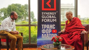 Grigory Avetov, CEO of Synergy Business School, Russia talking to His Holiness the Dalai Lama in Delhi, India on August 3, 2017.