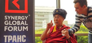 His Holiness the Dalai Lama wearing a traditional Russian hat presented after his interview with Synergy Global Forum in Delhi, India on August 3, 2017.